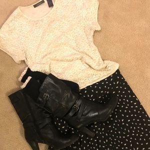 Med/size 6 Outfit! Lace blouse,skirt,socks,boots